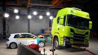 Електрическа Scania се блъсна с Golf за тест на акумулатори