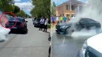 """Спортен Mercedes изгоря след опит да """"подпали"""" гуми"""
