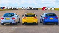 На пистата: Mercedes-AMG A 45 S в битка с BMW M2 CS и Audi RS3