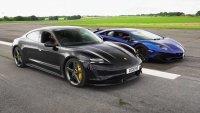 Може ли Porsche Taycan Turbo S да победи Lambo Aventador SVJ на драг?