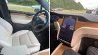 Американец подкара Tesla ... от пътническата седалка
