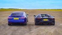 Кой е по-бърз: Tesla Model S Performance или Lamborghini Aventador S Roadster?