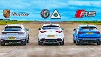 Audi RS Q3, Porsche Macan и Alfa Romeo Stelvio в спор на пистата