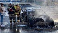 BMW се запали и изгоря след дрифт