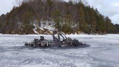 Tesla burned on a frozen lake