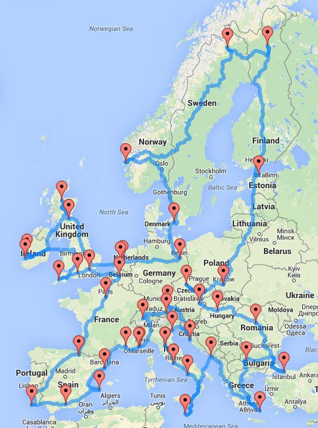 Европа, идеален маршрут